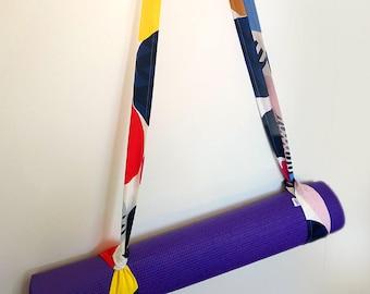 Colourful Yoga Mat Strap, Cotton Yoga Mat Strap, Pilates Mat Sling, Pilates Mat Strap, Abstract, Pattern, 80s print, 80s, Pastels, Brights