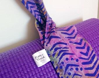 Purple Yoga Mat Strap, Batik Yoga Mat Strap, Cotton Yoga Mat Strap, Pilates Mat Sling, Pilates Mat Strap, Batik, Purple, Adjustable