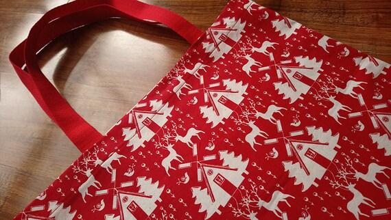 Noël en juillet, sac fourre-tout, Scandi, scandinave, Rennes, cadeau sac de Noël, sac en tissu, sac Shopping, sac, enveloppe de Noël, rouge, traditionnel
