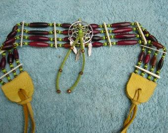 Native American Bone Choker, Dreamcatcher Choker, Indian Necklace, Dance Regalia, Tribal Jewelry, Native Regalia