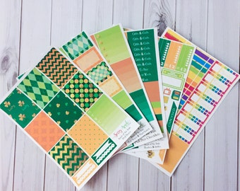 Luck of the Irish - St. Patrick's Day Weekly Planner Sticker Kit - Vertical