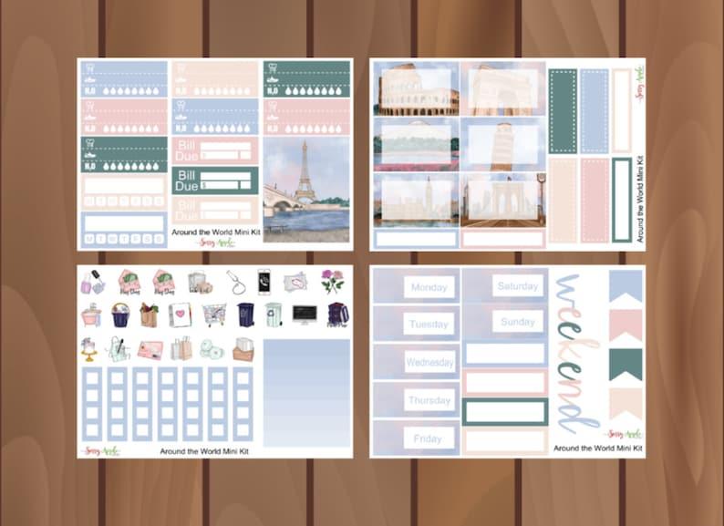 World Landmark Mini Kit Travel Mini Kit Around the World Mini Kit Weekly Planner Sticker Kit