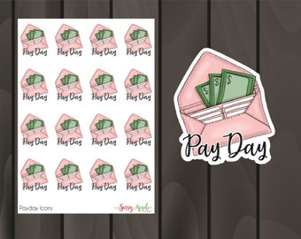Pay Day Stickers - Money Stickers  - Icon Stickers - Typography Stickers - Script Stickers