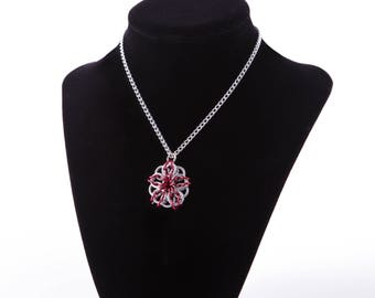 Red and Silver Celtic Star Necklace