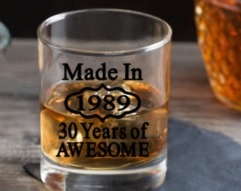 30th Birthday Gift For Him Or Her Dirty 30 Turning Thirty Years Old Present Ideas Lowball Whiskey Rocks Glass