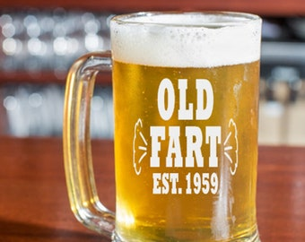 60th Birthday Gift For Men Old Fart 1959 Glass Dad Grandpa Friend Turning 60 Years
