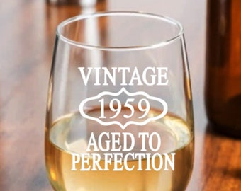 60th Birthday Gift For Women Present Man Turning 60 Party Favors Vintage 1959 Aged To Perfection Wine Glass Mom Dad