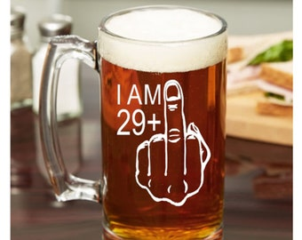 30th Birthday Gift For Him 29 Middle Finger Glass Beer Mug Guy Turning 30 Years Old Friend Party Idea