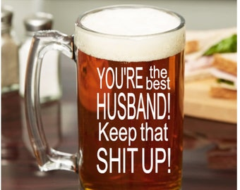 Gift For Husband Anniversary Birthday Valentines Day Beer Mug Funny Hubby