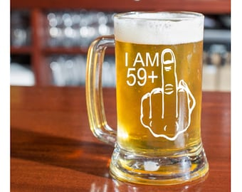 Mens 60th Birthday Gift 59 Middle Finger Etched Beer Glass For Man Turning 60 Years Old Funny Present A