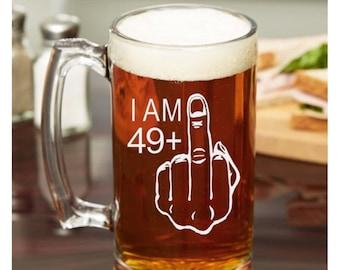 50th Birthday Gift For Men 49 Middle Finger Glass Beer Mug Whiskey Funny Adult Present Gag