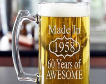 50th Birthday for Him, 60th Birthday Him, 40th Birthday for Him, Birthday Beer Glass, Birthday, 70th Birthday, 80th Birthday, Dad Birthday