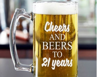 21st Birthday Gift, Cheers and Beers to 21 Years, Masculine Birthday Gift for Male, 21st Birthday Beer Mug or Pint Glass,