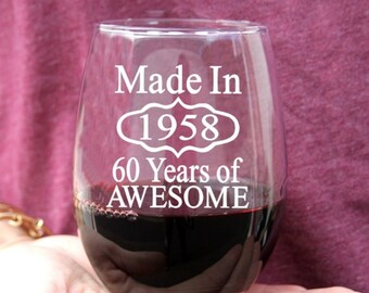 60th Birthday Gifts For Women Men Wine Glass Or Beer Party Favors
