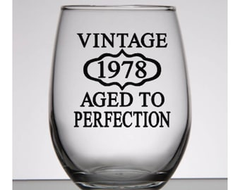 40th Birthday Gift For Women Vintage 1978 Party Favors Rocks Glass Man Personalized