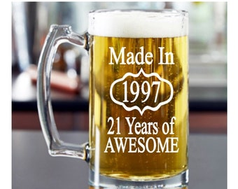 21st Birthday For Him Etched Beer Mug 1997 Gift Cocktail Glass Present