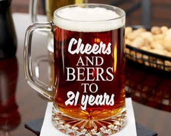 21st Birthday Gift Cheers And Beers To 21 Years Female Or Guy Turning Old Party Glass Beer Mug Friend Bday