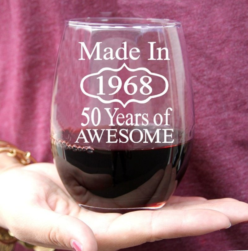 50th Birthday Wine Glass Gift for Men or Women, 50th Birthday Favors, Made in 1968 Adult Party Favors
