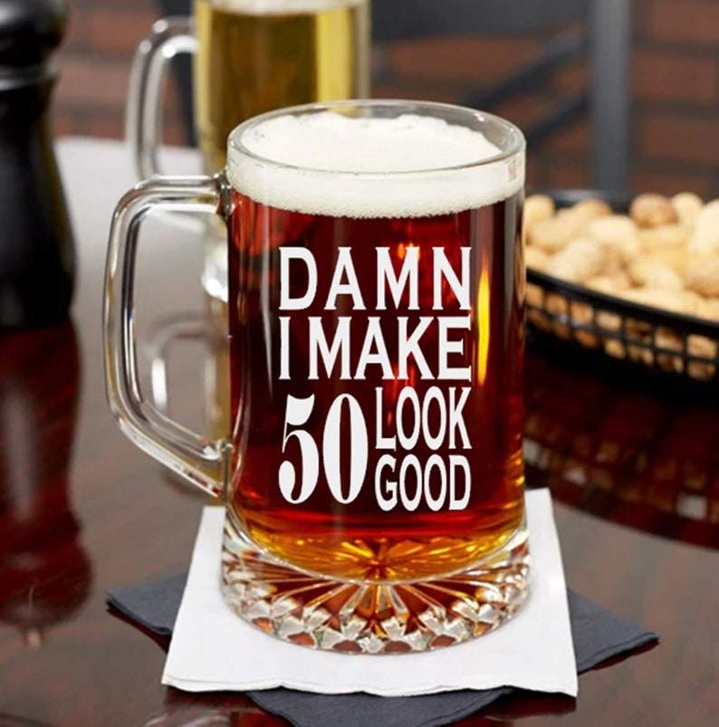50th Birthday Beer Mug Or Pint Glass Bday Present For Man