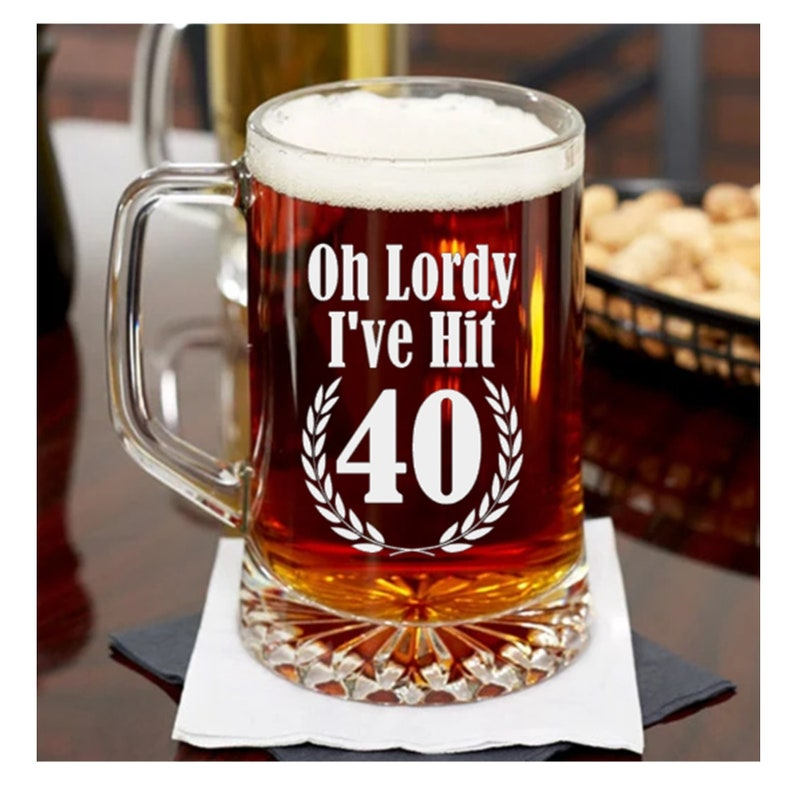 40th Birthday Gift Etched Beer Mug Or Pint Glass For Man