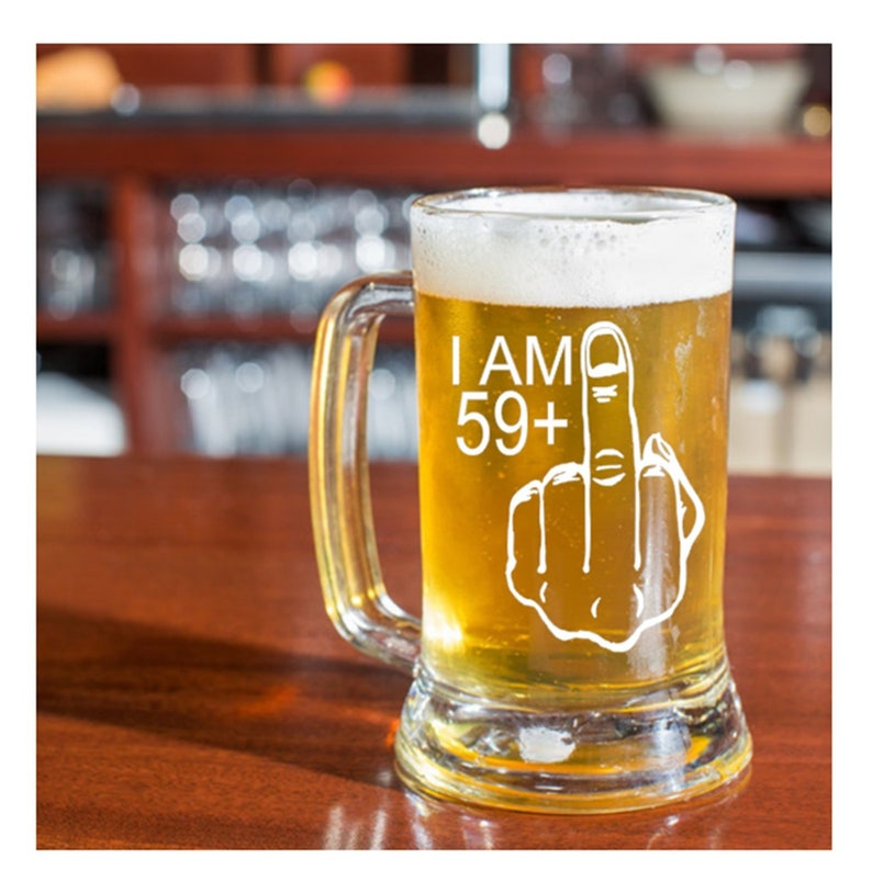 Mens 60th Birthday Gift 59 Middle Finger Etched Beer