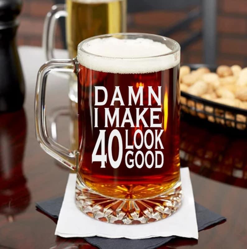 40th Birthday Gift For Man Glass Beer Mug Funny Bday
