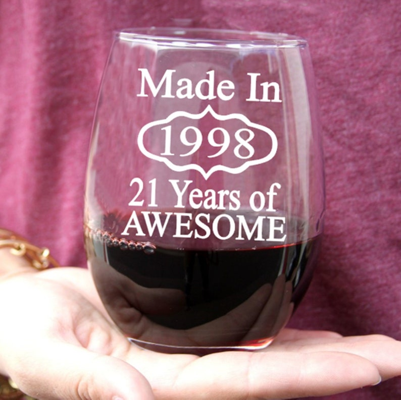 21st Birthday Gift For Her Him Wine Glass Bday Idea 1998 Turning 21