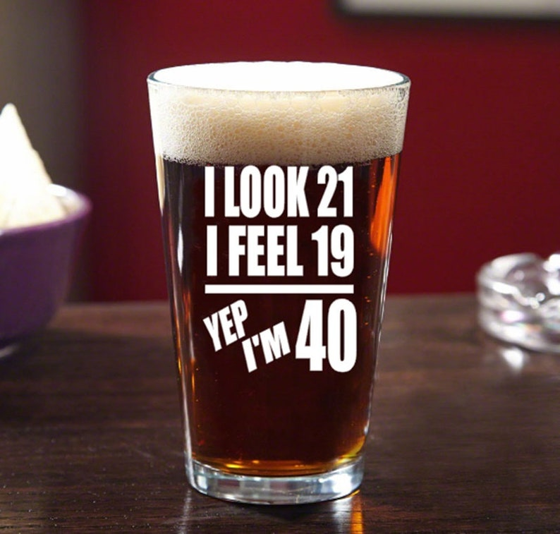 40th Birthday Etched Beer Mug Friend Fortieth Gift