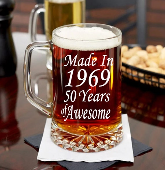 50th Birthday Beer Mug Gift For Dad Or Mom