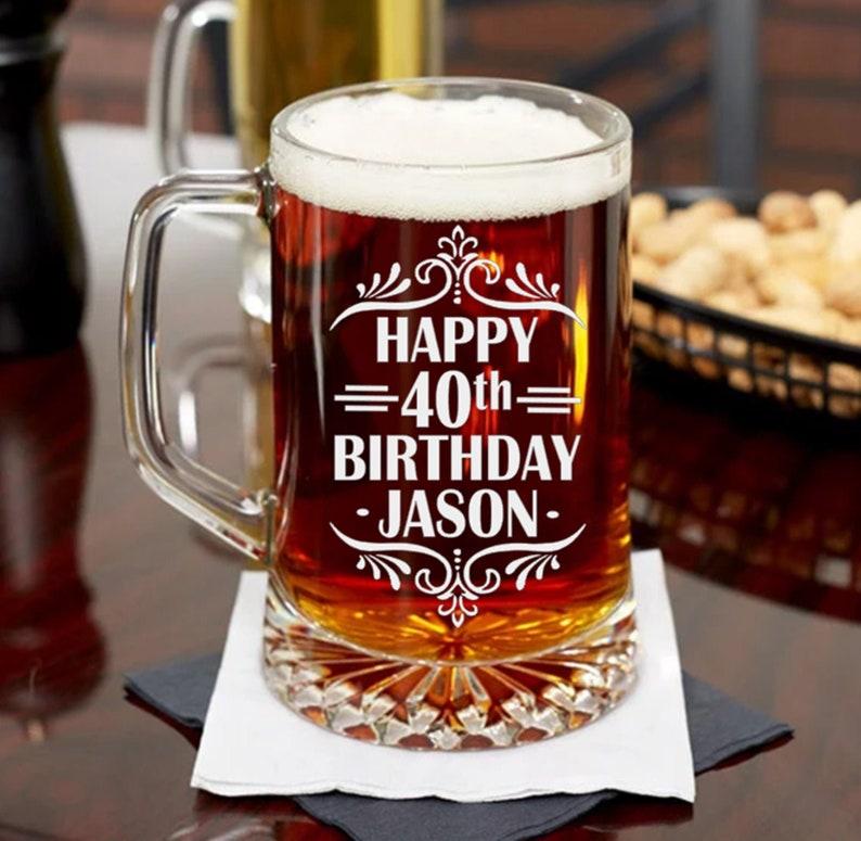 40th Birthday Gift For Man Bday Beer Mug Or Pint Glass Present Husband Boyfriends Friend Turning 40