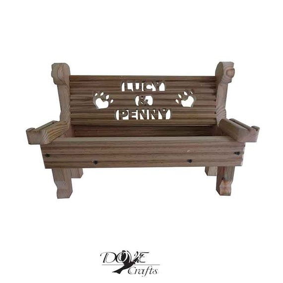 Pet Memorial Bench Planter Personalised Dog Cat Made To Order Decking Wood Grave Gift Present Pet Any Name Garden Patio Unique