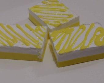 Lemony Soap Cake Bars/goats milk soap/lemon soap/layered soap/olive oil soap/Shea butter soap/homemade soap/gift soap