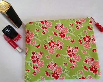 Green Floral Cotton Make-Up/Cosmetic Bag