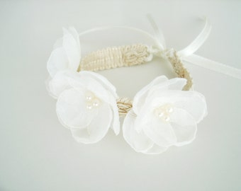 Ivory Flower Corsage, Pearl Bridesmaid Corsages, Rustic Wedding