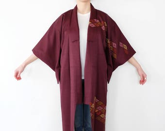 Burgundy Floral Kimono - - Silk - Vintage - Japanese Long Kimono - Kimono Dress - Gift For Her - Oriental Look