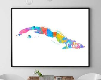 Cuba Map Print Printable Map Of Cuba Wall Art Decor Watercolor Map Print Cuban Gift Instant Download  sc 1 st  Etsy & Cuban wall art | Etsy