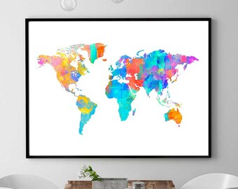 Lego world map print lego inspired art world map decor lego etsy world map print printable map world map art watercolor print home decor nursery colorful decoration instant download gumiabroncs Image collections