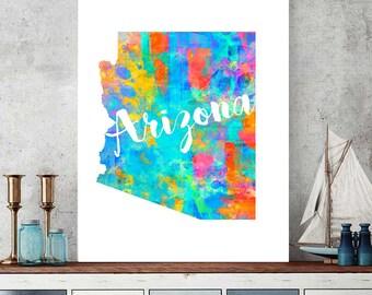Arizona Map Print, Watercolor Map, Arizona Printable, Arizona Home Decor, Nursery Map Download, Arizona Instant Download
