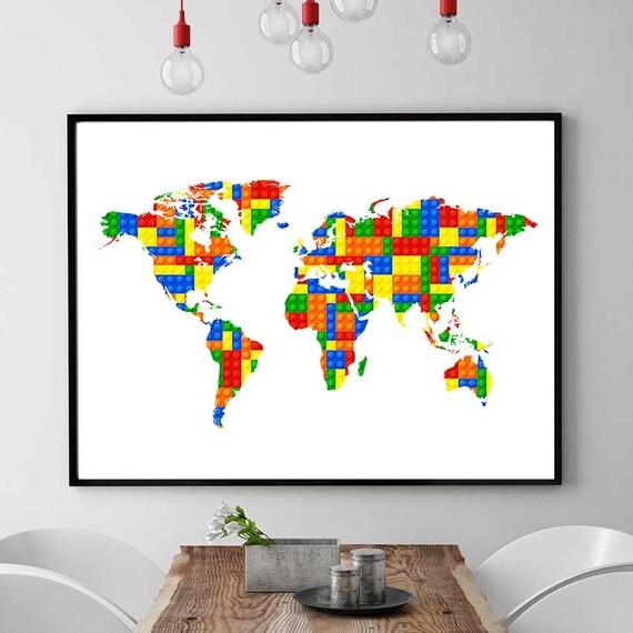Lego World Map Print Lego Inspired Art World Map Decor Lego | Etsy