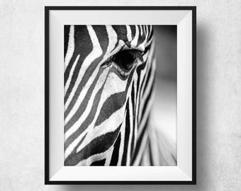 Zebra Print, Zebra Poster, Animal Art, Animal Prints, Scandinavian Modern, Zebra Wall Art, Home Decor, Zebra Decorations, Black And White