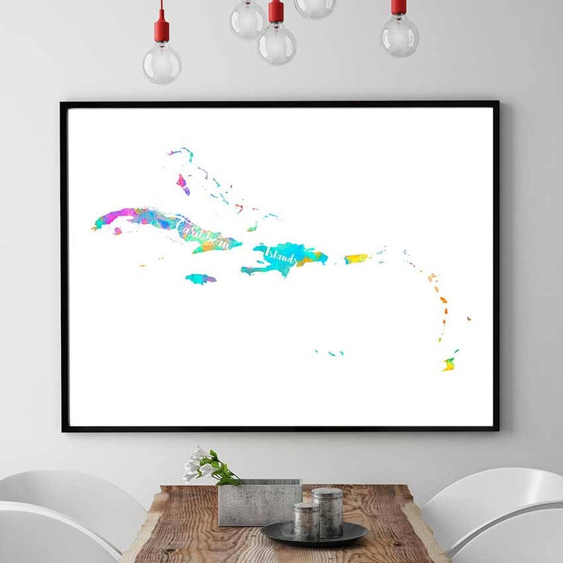 image relating to Printable Map of Caribbean Islands titled Caribbean Islands Map, Caribbean Islands Printable Map, Caribbean Islands Wall Artwork, Wall Artwork Decor, Watercolor Map Print, Printables