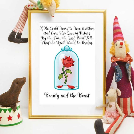 Enchanted Rose Quote Beauty And The Beast Wall Art Cursed Etsy