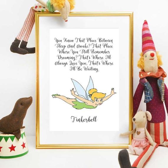 Tinkerbell Quote Disney Print Tinkerbell Nursery Decor Etsy