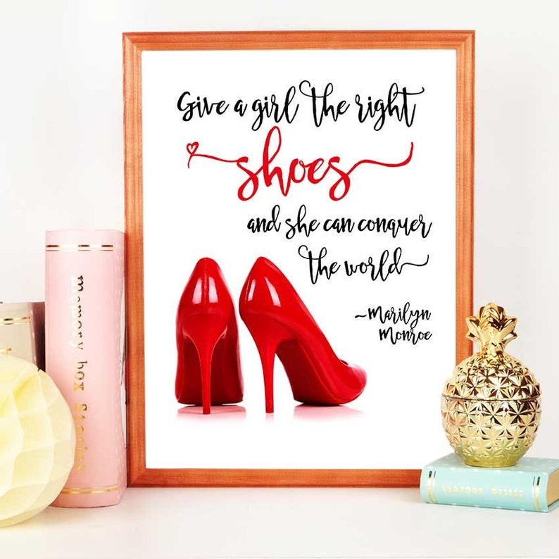 42c55cb33078a Red Shoes Party Decoration, Shoes Backdrop, Digital Download, Fashion Art,  Marilyn Monroe Quote, Printable Wall Decor