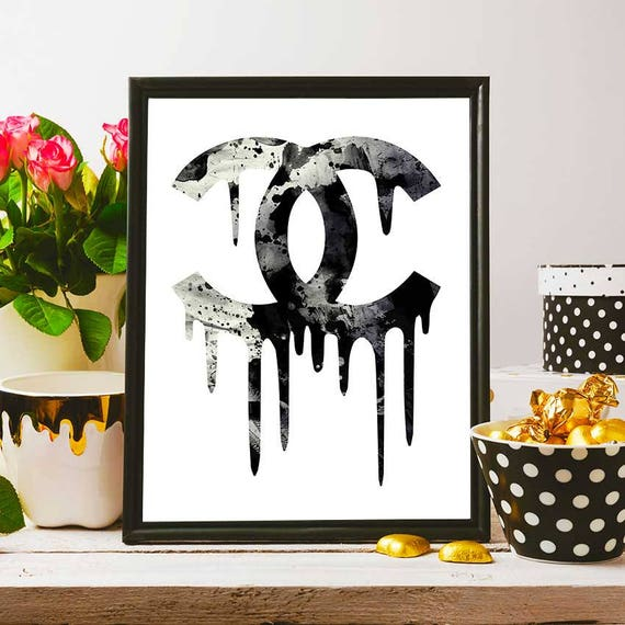 Coco Chanel Party Decoration Backdrop Watercolour Print Wall Art Chanel Prints Birthday Decor Black And White Printable
