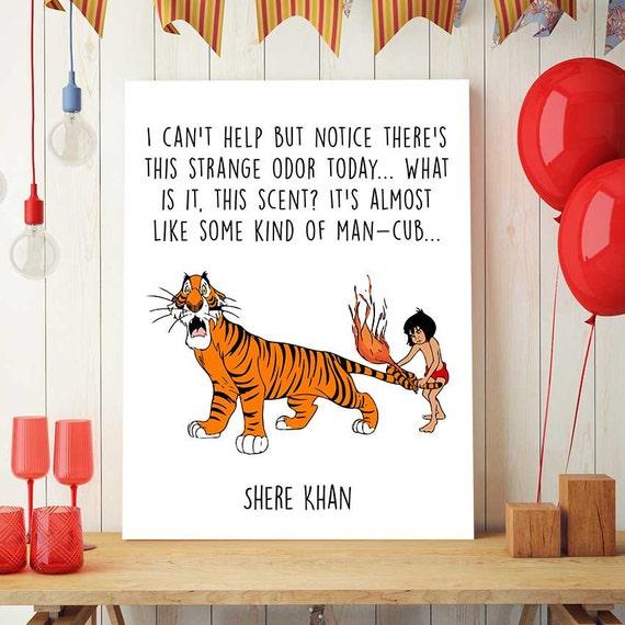 Imprimibles del libro de la selva Shere Khan y Mowgli frases | Etsy