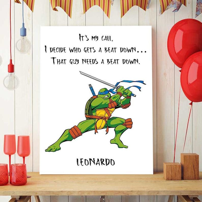 Ninja Turtles Birthday Decor Leonardo Quote Tmnt Printable Etsy