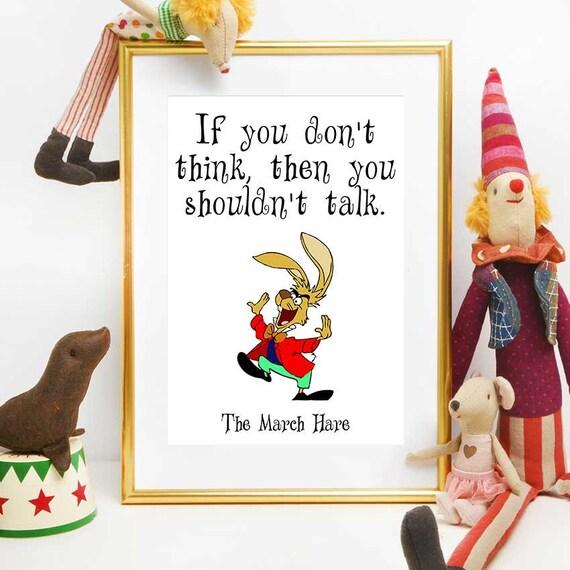 Alice Im Wunderland Druckbare Zitate March Hare Kinderzimmer Dekoration Inspirierende Zitate Wand Kunstdruck Baby Girl Geschenk