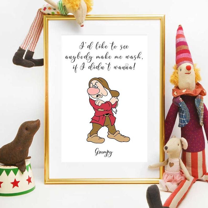 Snow White Quote Print, Grumpy Quote Printable, Disney Quotes, Snow White  Art, Kids Bathroom Decor, Disney Printables, Snow White Dwarf