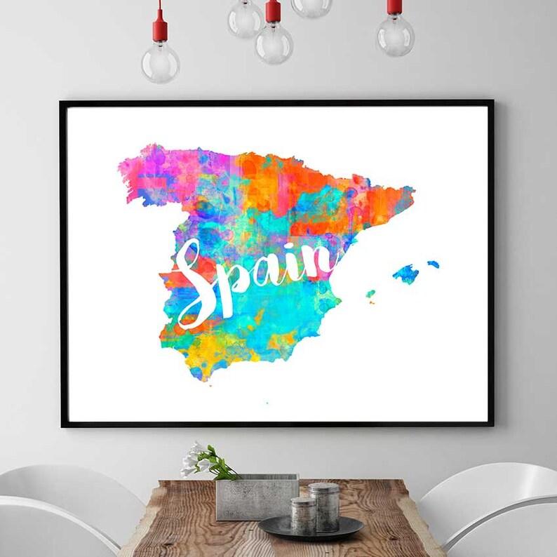 Carte Espagne Telecharger.Impression Carte Espagne Carte Imprimable De Lespagne Etsy